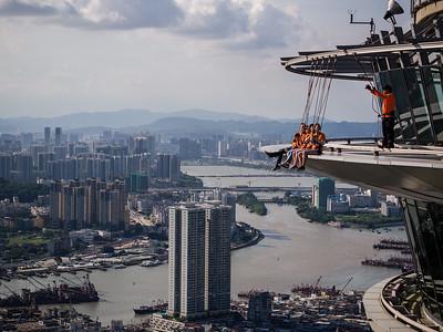 Skywalk activity at the AJ Hackett Macau Tower