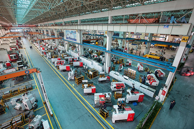 Sany workers manufacture components at a Sany Group factory in Changsha, Hunan Province, China, on Monday, Sept. 19, 2011.