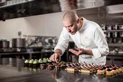 Christophe Devoille, executive pastry chef at Wynn Palace, poses in Macau.