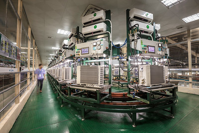 A Midea air conditioner factory production line is seen in Foshan, Guangdong Province, China.