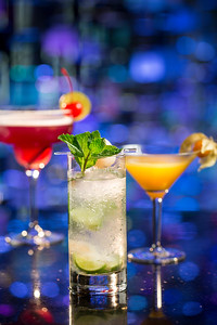 Cocktails are displayed at the Crystal Piano lounge in the Galaxy Macau casino resort.