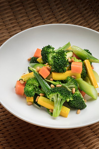 Mixed vegetables at Golden Pavilion restaurant in the City of Dreams resort in Macau, China.