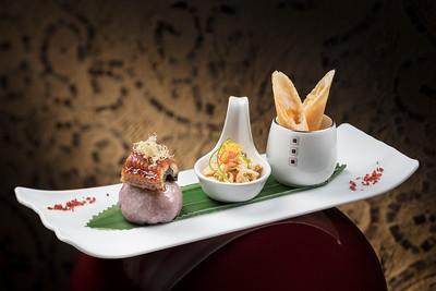 New Lunch Set Menu - 涼拌手撕沙薑雞 火炙鰻魚野菌粿 香芒蟹肉脆春 at Lai Heen restaurant in The Ritz-Carlton Macau hotel.