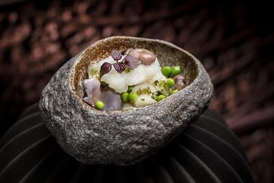 Michelin Menu - 藍菌雪裡紅鱈魚件 at Lai Heen restaurant in The Ritz-Carlton Macau hotel.