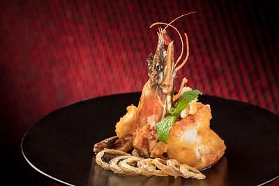 CNY Menu - 蟹肉黃金蝦  at Lai Heen restaurant in The Ritz-Carlton Macau hotel.