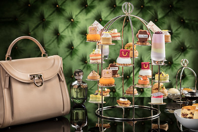 Feragamo handbag/tea set pairing at Wynn Palace Macau.