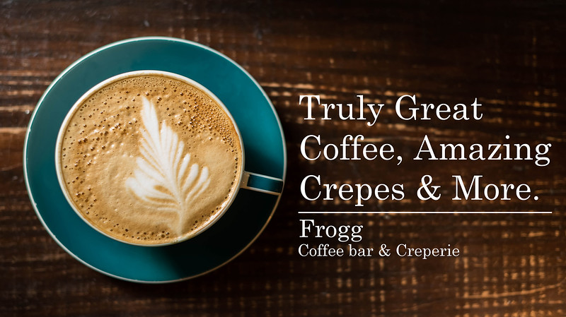 Honorable Mention<br /> Advanced Advertising<br /> 2018 ATPI Fall Contest<br /> Brydie Hardwick<br /> Allen HS<br /> Allen, TX<br /> Instructor: Krista Luter<br /> Frogg Creperie