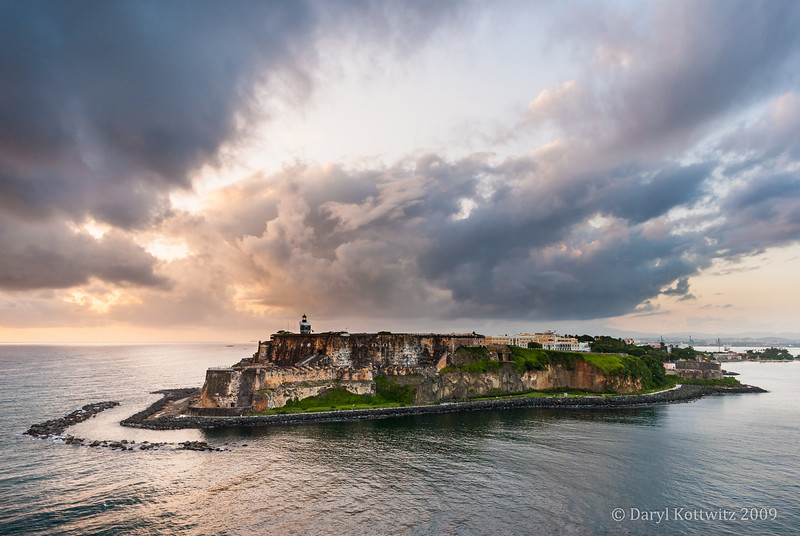 In 2009, the family took a Caribbean cruise vacation with Puerto Rico as one of the destinations. Thankfully I had enough ambition to get up the morning as we were pulling into San Juan's harbor. This scene greeted me, definitely making it worth my effort. This is Castillo San Felipe del Morro. Later in the day I was in the fortress - a thrilling experience for a history lover.