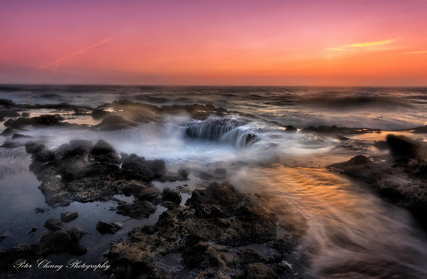 Sunset at Thor Well in Oregon Coast