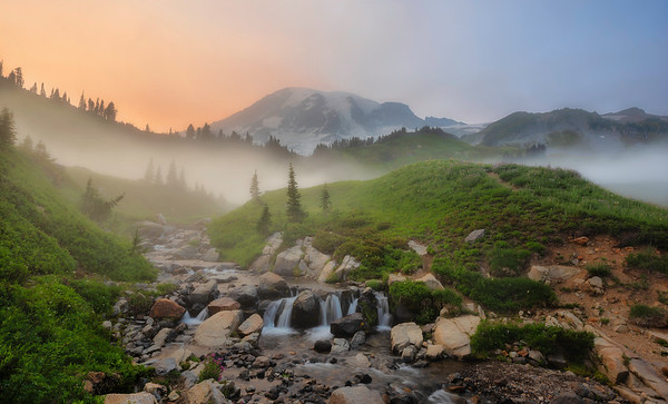 Smoky sunset at Mt. Rainier National Park