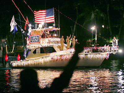 121711 - BOCA RATON - Boca Boat Parade, Saturday, Dec. 17 photographed from where the little sliver of park is, next to where the Wildflower used to be.  Photo by Tim Stepien