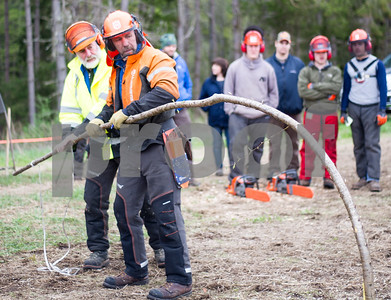 Robert Layman / Staff Photo John Adler, right, co-owner of NEWT, stakes down a sappling with instructor Al Sands to be used for the spring pole challenge. NEWT the Chester based Company was formed in 2001, and since then has grown to train over 1600 aborists a year.