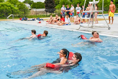 Maddie Reed, front right, saves Ana Sofia Aguilar,left, during a training exercise at Whites Pool back in Rutland in June.