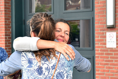 Tammy Branchaud embraces friend Meadow Squier, of Tinmouth, outside of the Rutland criminal court Thursday afternoon. Branchaud was surrounded by support during the sentencing hearing of Thomas H. Velde, of Tinmouth, who killed her husband Leo Branchaud in a hit-and-run in 2016. (Robert Layman / Staff Photo)
