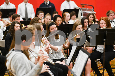 """The Rutland High School band performs """"America the Beautiful"""" during a Memorial Day ceremony at their school Monday (Robert Layman / Staff Photo)"""