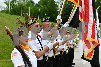 Rutland's VFW Post 648 Color Guard presents the colors during the Memorial Day Ceremony at Rutland High School Monday May 28, 2018. (Robert Layman / Staff Photo)