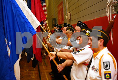 Rutland's VFW Post 648 Color Guard presents the colors during the opening of the Memorial Day Ceremony at Rutland High School Monday May 28, 2018. (Robert Layman / Staff Photo)