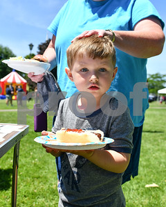 Lincoln Brown, 3, of Rutlandm gets a pat on his head from his grandmother as he's walked through the hot dog line at the Rutland Summer Meals Kick Off in Main Street Park in Rutland Tuesday afternoon. (Robert Layman / Staff Photo)