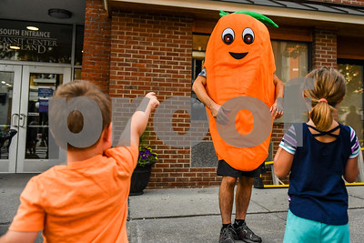 A young boy points to a man dressed as a carrot. (Robert Layman / Staff Photo)