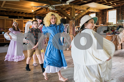 Gemma Snook, right, as Ms. Humpty Dumpty, leads the costume parade. (Robert Layman / Staff Photo)