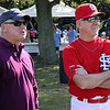 Peabody, Ma. 9-4-17. Jonathan Blodgett, left, and John Tudeor, right, talk before the start of the 61st annual Peabody and Lynnfield charity baseball game at Emerson Park in Peabody to raise money for cancer research.
