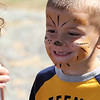 Peabody, Ma. 9-4-17. Jackson Fagundes gets the first look at himself after having his face painted as a tiger at the 61st annual Peabody and Lynnfield charity baseball game at Emmerson Park in Peabody on Monday.