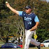 Peabody, Ma. 9-4-17. Mark Bettencourt was the starting pitcher for the Lynnfield and Peabody Police team at the 61st annual Peabody and Lynnfield charity baseball game held at Emerson Park to rasie money for cancer reserach.