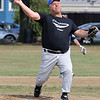 Peabody, Ma. 9-4-17. Phil Mitchell was the starting pitcher for the old timers at the 61st annual Peabody and Lynnfield charity baseball game held at Emerson Park to rasie money for cancer reserach.
