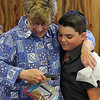 Revere, Ma. 7-30-17. Carol Tye, Revere School Committee, responding to a gift she got from John Fraugten, one of the Taft Street fire victims, thanking her for giving him two fee  Boston Red Sox tickets.
