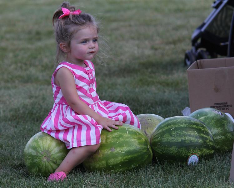 Peabody, Ma 8-13-17 Mia Betterncourt minding some fresh watermelon at the Mayors Picnic.