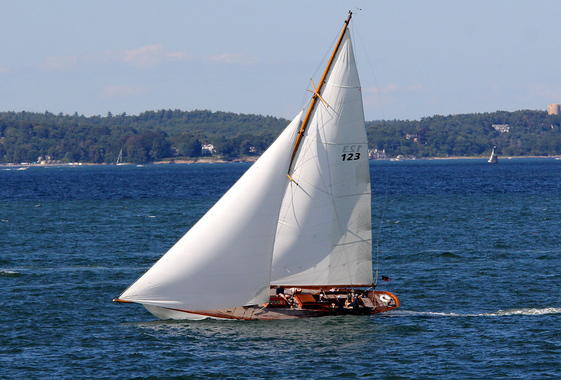 Marblehead, Ma. 8-13-17. The Neith heading for the finish line in the Corinthain Classic Yacht Regatta.