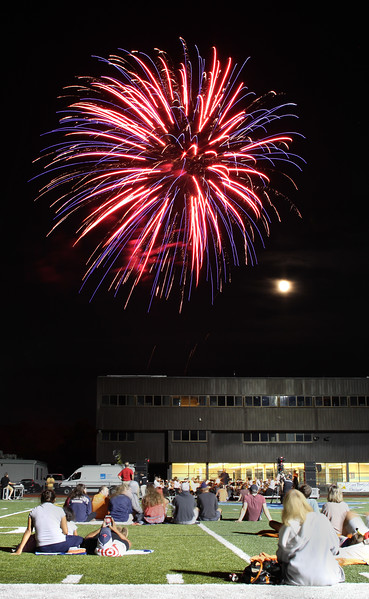 Peabody, Ma. 8-7-17. Fireworks topped off the outdoor concert at Peabody High.