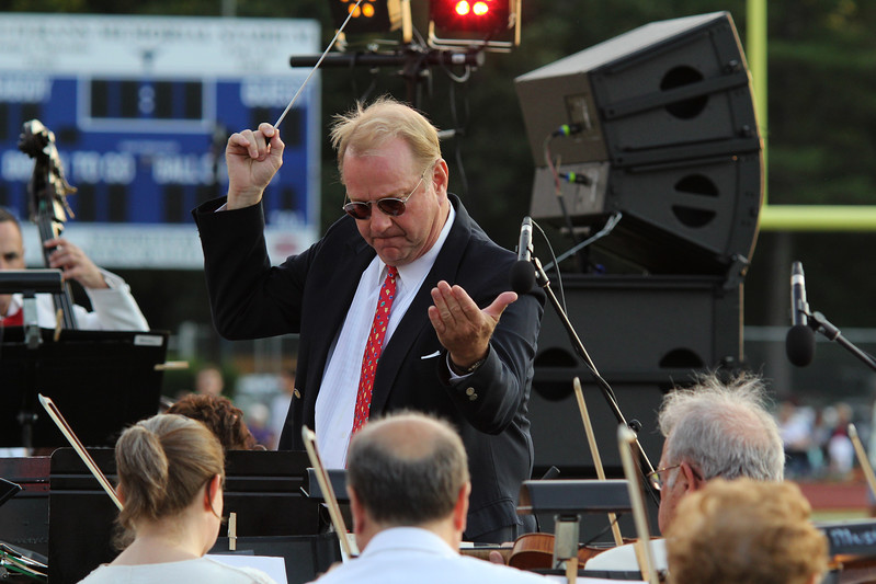 Peabody, Ma. 8-7-17. Dirk Hillyer conducts the Hillyer Festival Orchestra at the outdoor concert at Peabody High.