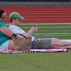 Peabody, Ma. 8-7-17. Stephanie and Alex Dines enjoy the outdoor concert at Peabody High.