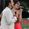 Peabody, Ma. 8-7-17. Jacyn Tremblay, of Danvers, and Thomas Smoker of Rockport, were guest singers at the outdoor concert at Peabody High.