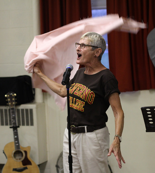 Marblehead, Ma. 8-8-17. Mary Anne Spartos during rehersal for Sisters in Song to be performed on thursday, August 10 at 7 pm at St. Stephens' Church.