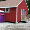 Middleton, Ma. 6-27-17. Dania Quijada, and Nayyali Novo after using the new changing room at Camp Creighton Pond in Middleton that was built by Local 26 Carpenters Union as a charity project.