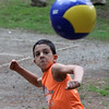 Middleton Ma. 6-27-17. Jerenzo Heredia of Lynn playing tetherball at Camp Creighton Pond in Middleton.