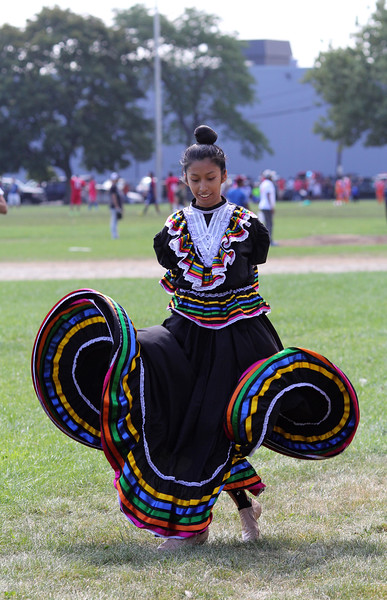 Lynn, Ma. 8-27-17. Jacquelyn Ramirez was one of the dancers who performed at the first Sporting and Recreational Fair amigos de la Voz at McManus Field in Lynn on Sunday.