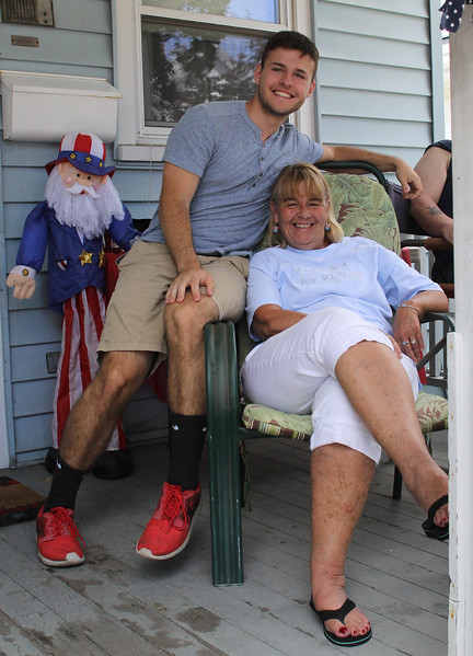 Lynn, Ma. 7-4-17. Joanne Hingston ahd her son Danny Hingston enjoy the block party on tracy Street in Lynn. This is Joanne's 53rd block party.