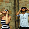 Nahant, MA Mon Aug 21, 2017- l-r] Ally Furtado and Joe Moccia, both from Lynn. Viewing the eclipse at the steps of the Nahant Library.<br /> <br /> Item Staff Photo/Jim Wilson