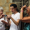 Nahant, MA Mon Aug 21, 2017- l-r] Martha Stevenson with grandson Walker Christie, and Linda Jenkins all from Nahant. Viewing the eclipse at the steps of the Nahant Library. Walker is showing his grandmother an image of the eclipse the captured on his cell phone.<br /> <br /> Item Staff Photo/Jim Wilson