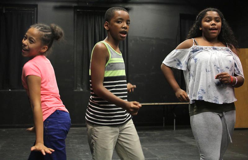 Lynn, Ma. 8-16-17. Keniah Anderson, Carlos Thomas, Nadia Lebron during rehersal at Jazz is a Rainbow FREE kid's workshop at Lynn Arts in preperation for their show on August 26.