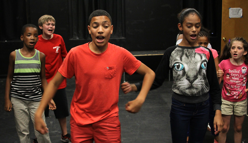 Lynn, Ma. 8-16-17. Carlos Thomas, Zachary Perry, Jose Santana, Angelys Pagan, Leyka Louis and others during rehersal at the Jazz is a Rainbow FREE kid's workshop at Lynn Arts for their upcoming show at Lynn Arts on August 26.