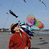 Lynn, Ma. 9-4-17. Glenn Davison, the president of Kites Over New England on Lynn Beach with some of the kites he had in the air today.