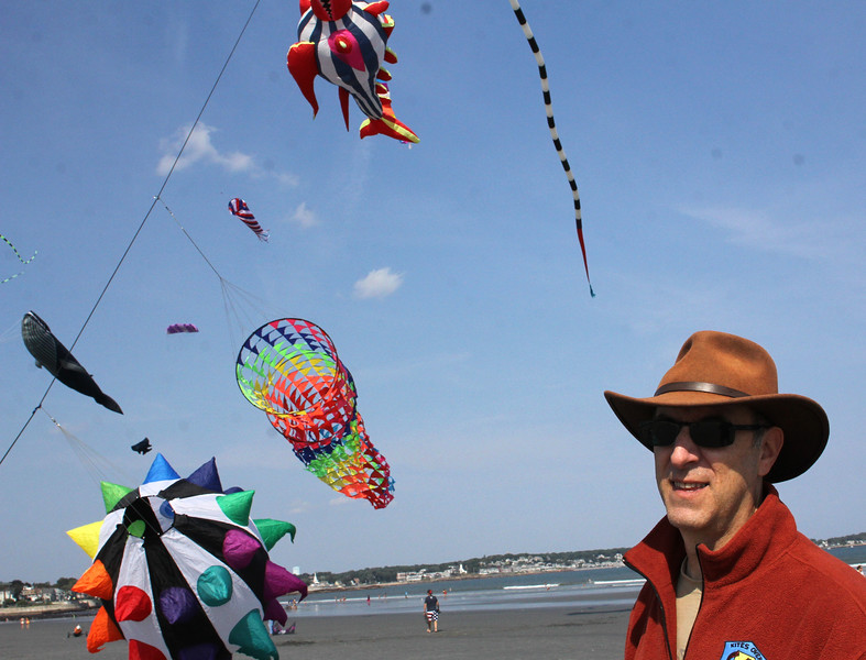 Lynn, Ma. 9-45-17. Glenn Davison, the president of Kites Over New England with some of his kites on Lynn  Beach today.
