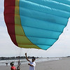 Lynn, Ma. 7-23-17. Sam Harrison and Denis Barkats practice paragliding basics on Lynn beach.