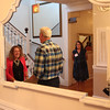 """Nahant, Ma. 6-28-17. Elena Hirshman-Seidel, left, registers Joe Mulligan for the fundraiser """"Night in Nahatn: A Summer Party for the Lynn Museum/LynnArts""""  at the historic Nahant Country Club. Susan Baker-Leavitt in on the right."""