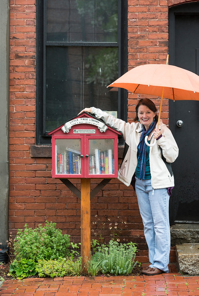 Malden Arts Council member Sharon Santillo played a role in bringing Little Free Libraries to Malden, including this one at 67 Ashland St.