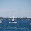 Sailboats head out of Marblehead Harbor towards the start line of the Marblehead-Halifax Race in Marblehead on Sunday, July 9, 2017. (Scott Eisen/The Item)